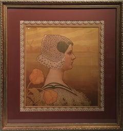 "Paul Berthon, ""Queen Wilhemina"" 15 x 14 Original Stone Lithograph"