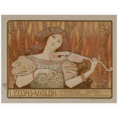Paul Berthon Original Color Lithograph, 1897, Lecon de Violon