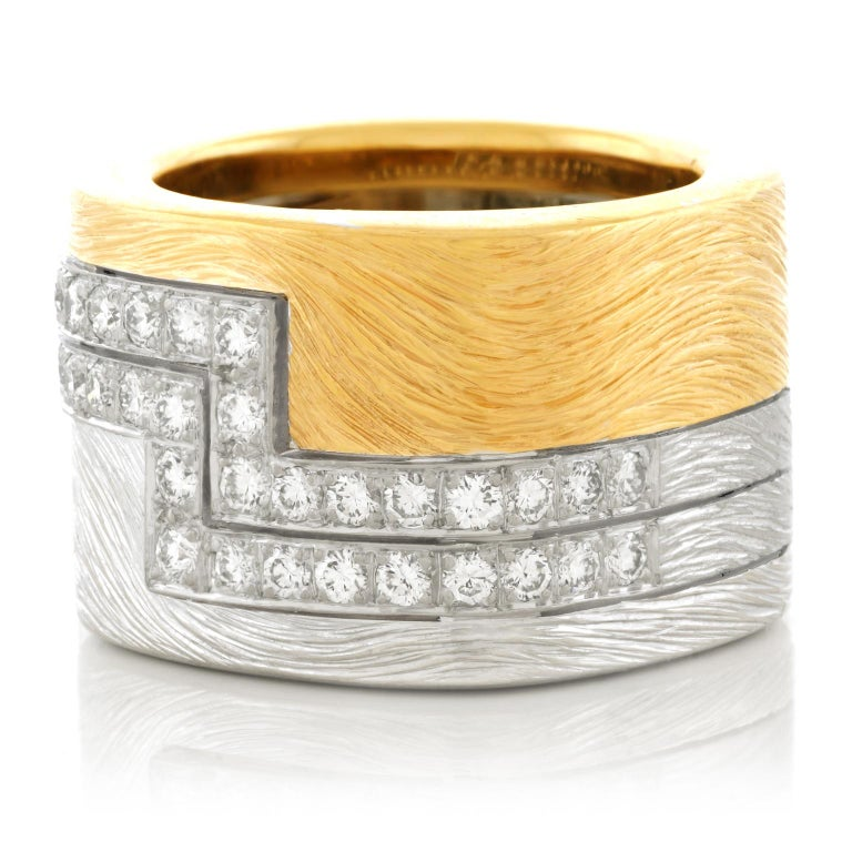 Modernist Paul Binder Diamond Set Gold Ring 18 Karat Swiss For Sale
