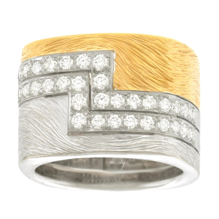 Paul Binder Diamond Set Gold Ring 18 Karat Swiss For Sale