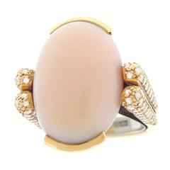 Paul Binder Pink Coral and Diamond Set Gold Ring