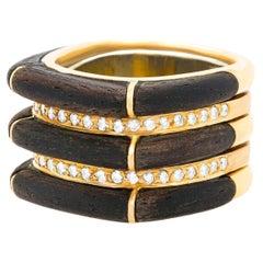 Paul Binder Sixties Modern Diamond Ebony and Gold Ring
