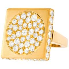 Paul Binder Swiss Modern Diamond Set Gold Ring