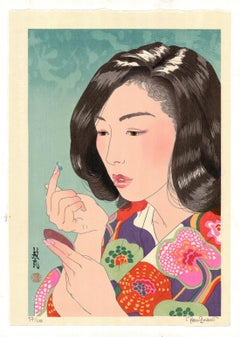 Paul Binnie, Contact Lens, Contemporary Woodblock Print, Kimono Pattern, Beauty