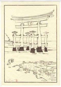 Gate at Miyajima, Japanese Keyblock Print, Paul Binnie, Contemporary Landscape
