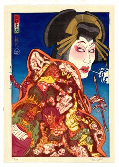 Paul Binnie, Hell Courtesan, Contemporary Woodblock Print, Kimono Pattern, Art