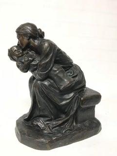 PAUL ROGER-BLOCHE  BRONZE SCULPTURE of a Mother & child