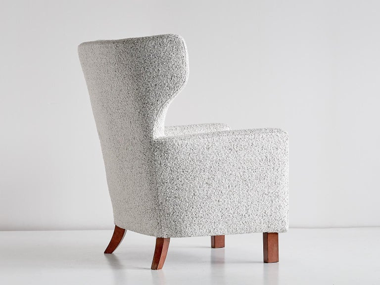 Paul Boman Wingback Chair in Pearl Bouclé Fabric and Beech, Finland, 1940s For Sale 4