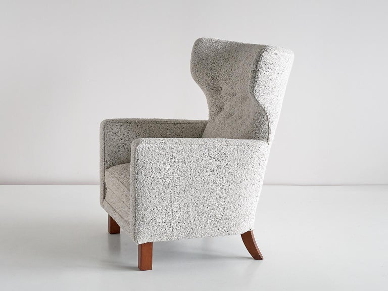 Paul Boman Wingback Chair in Pearl Bouclé Fabric and Beech, Finland, 1940s For Sale 6