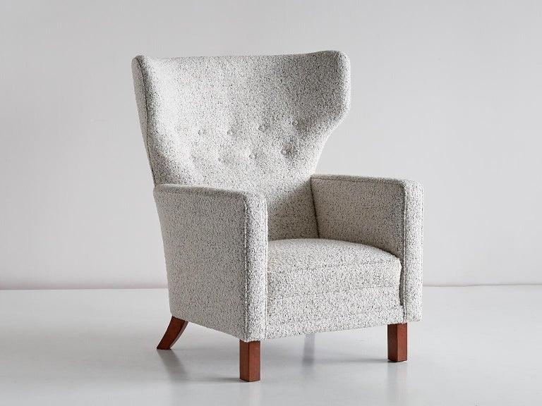 Scandinavian Modern Paul Boman Wingback Chair in Pearl Bouclé Fabric and Beech, Finland, 1940s For Sale