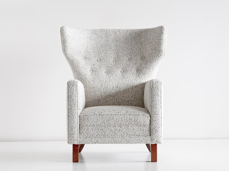 Finnish Paul Boman Wingback Chair in Pearl Bouclé Fabric and Beech, Finland, 1940s For Sale