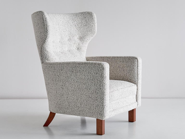 Mid-20th Century Paul Boman Wingback Chair in Pearl Bouclé Fabric and Beech, Finland, 1940s For Sale