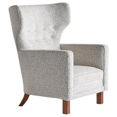 Paul Boman Wingback Chair in Pearl Bouclé Fabric and Beech, Finland, 1940s