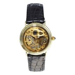 Paul Breguette 14 Karat Solid Gold Unique Skeleton Watch