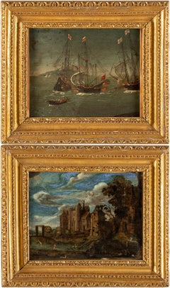 Pair of  17th century Flemish landscape paintings -  Oil on copper Paul Brill