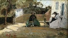 Deux couseuses sur une terrasse en Provence - 19th Century Women Sewing P Guigou