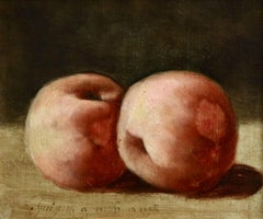 Deux Peches - 19th Century Oil, Still Life of Peaches by Paul Camille Guigou