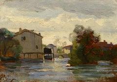 """Mill Along the River,"" Paul Guigou, Barbizon School, oil, Impressionist"