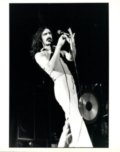 Frank Zappa on Stage Holding Mic Vintage Original Photograph