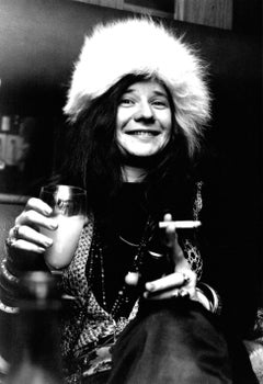 Janis Joplin with Cigarette and Drink Vintage Original Photograph