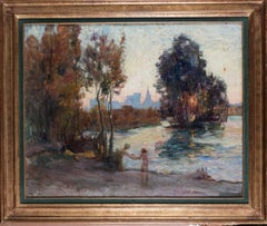 1914 French Impressionist landscape oil painting of the River Rhone in Avignon