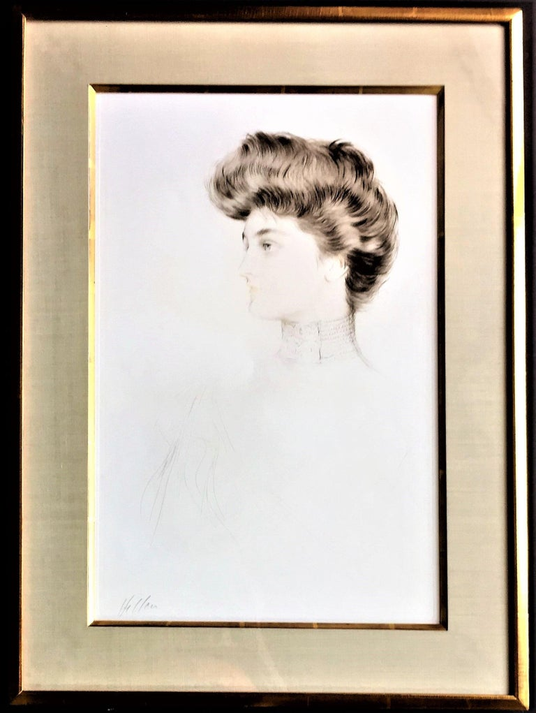 Alexandra of Denmark, Queen of England. - Gray Portrait Print by Paul César Helleu
