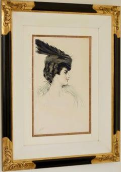 """Dame a la Toque"", fabulous drypoint etching by Paul Cesar Helleu"