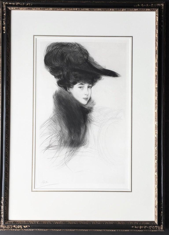 Paul César Helleu. La Duchesse de Marlborough, Consuelo Vanderbilt. c. 1901. Drypoint.  Montesquiou 8. 21 1/2 x 13 3/4 (sheet 24 3/8 x 12 3/4). Housed in a silk mat with a gold liner, in a gold leaf frame that measures  31 1/2 x 22 1/2. A rich