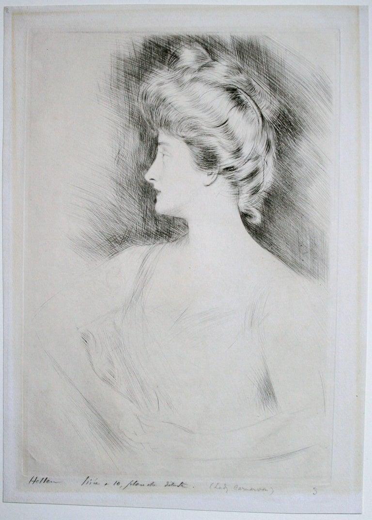 Lady Carnarvon. - Print by Paul César Helleu