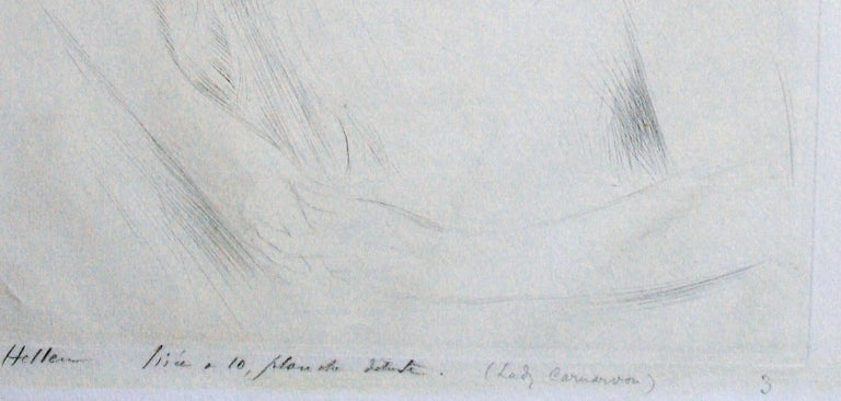 Lady Carnarvon. - Gray Portrait Print by Paul César Helleu