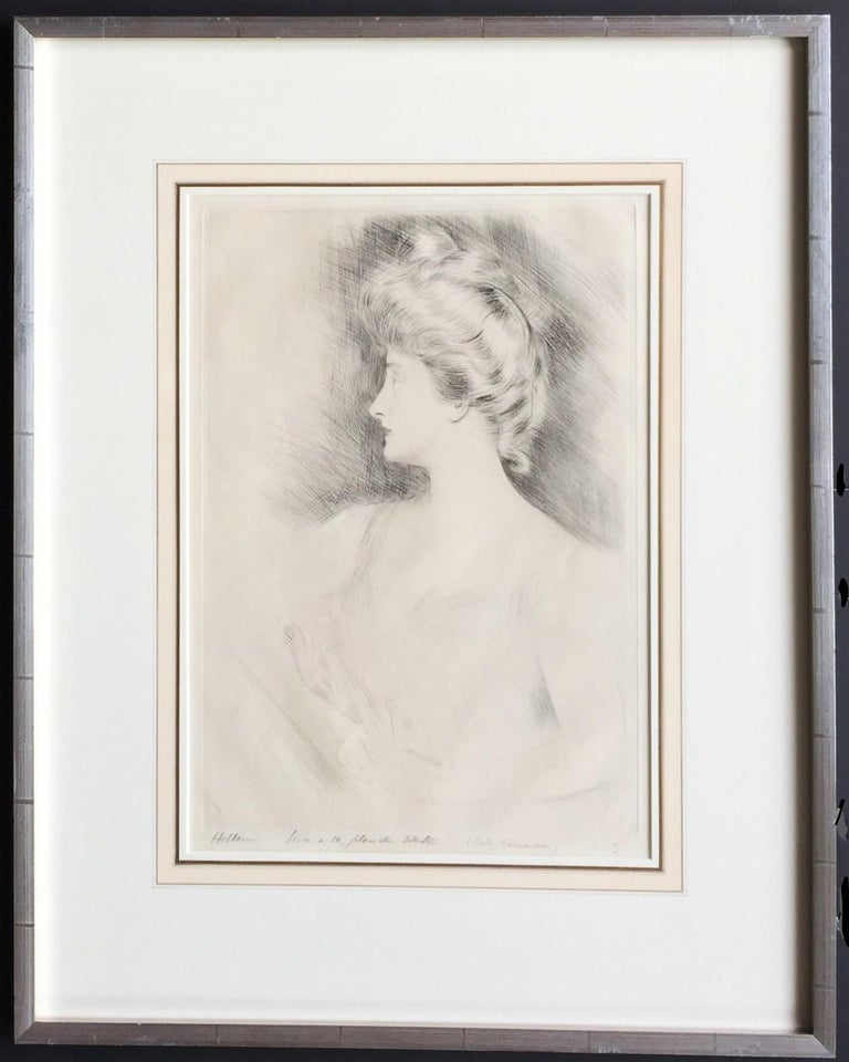 Lady Carnarvon. c. 1901. Drypoint. 15 1/8 x 10 1/4 (sheet 17 5/8 x 12 5/8). Slight toning and mat line; otherwise fine condition. A rich impression printed on white wove paper. Signed, numbered in pencil and annotated 'Tireé à 10, planche