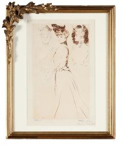"Paul César Helleu, ""4 studies of women"" , Etching, Belle Epoque"