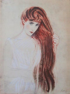 Shy Red Hair Woman - Lithograph