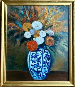French 19th century style - Impressionist cityscape painting Flowers in a Vase