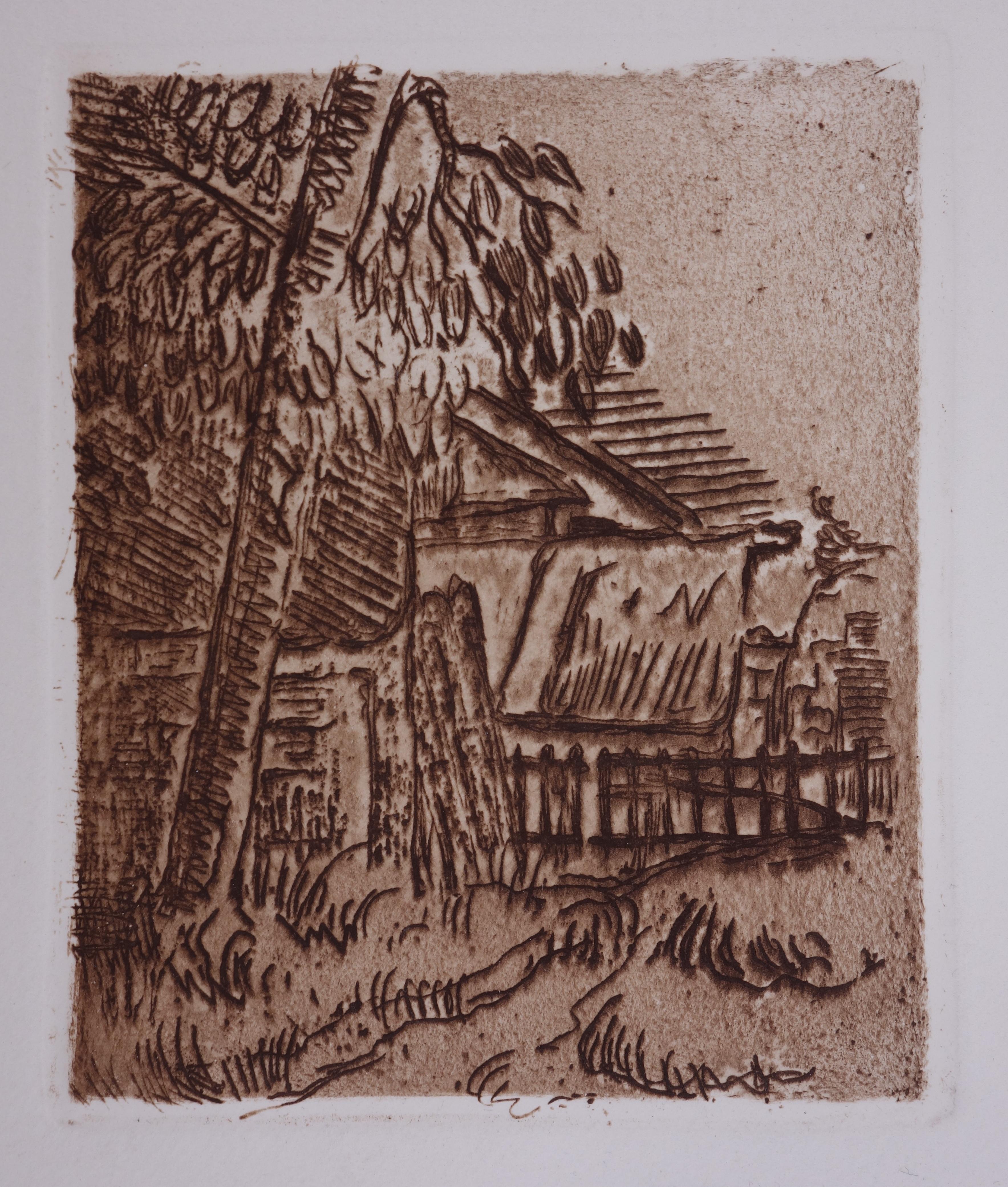 Landscape in Auvers,  The Farm - Original drypoint