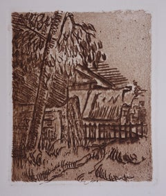 Landscape in Auvers,  The Farm - Original drypoint