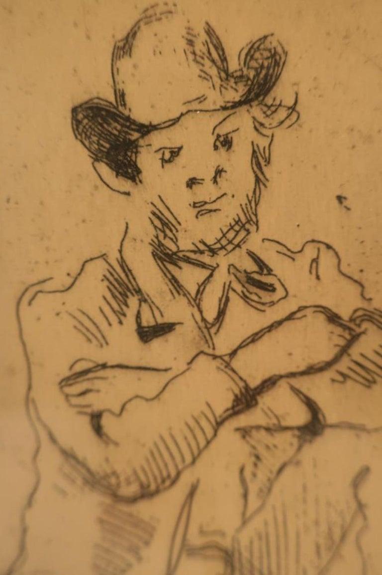 Paul Cezanne, Portrait Etching - Brown Portrait Print by Paul Cézanne