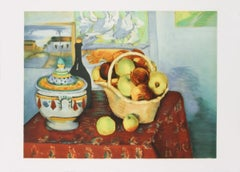 """Paul Cezanne-Still Life with Apples-21"""" x 29.5""""-Lithograph-1970-Modernism"""