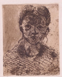 Tête de Jeune Fille - Original Etching and Drypoint by Paul Cézanne - Early 1900