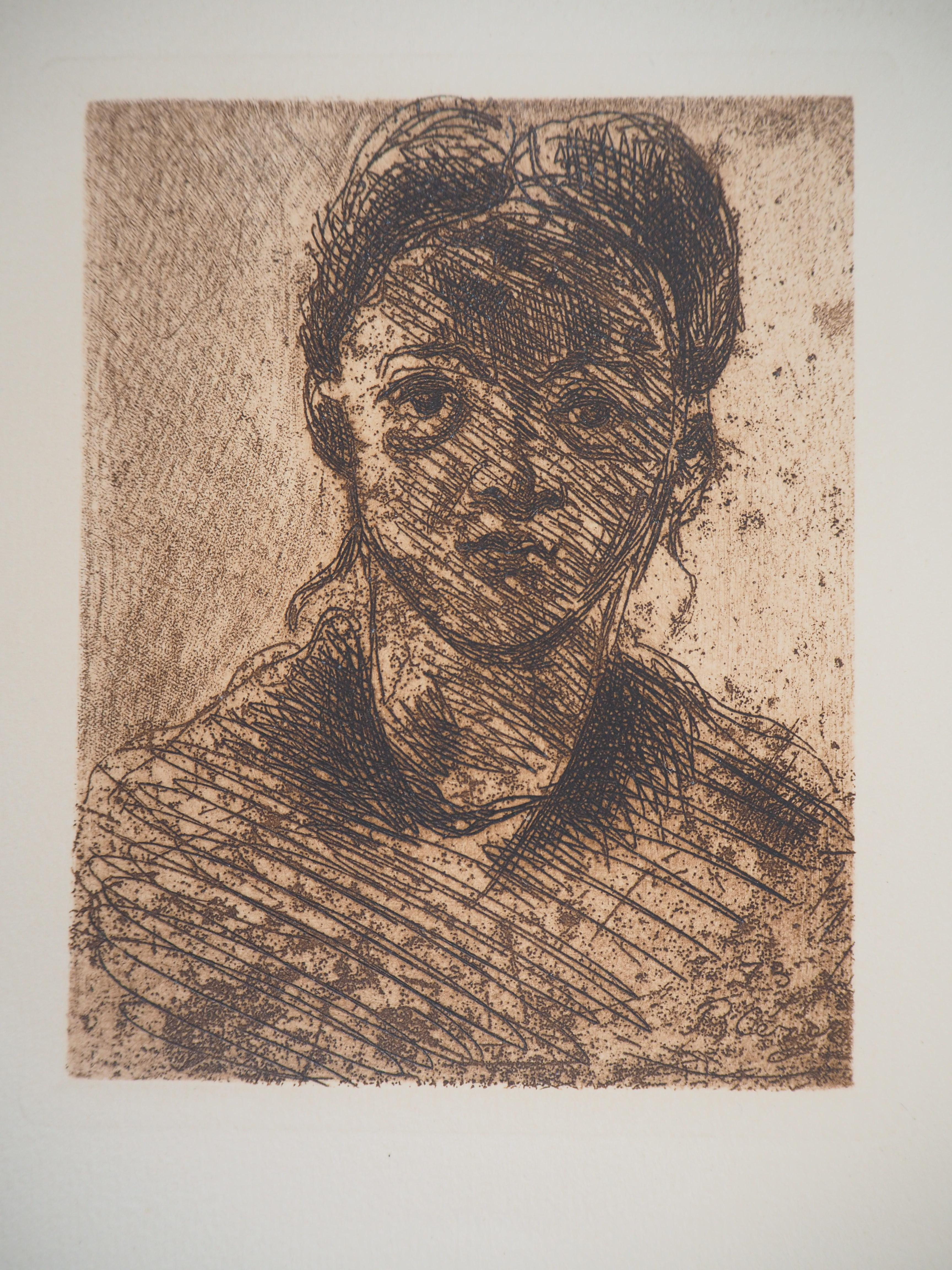 Young girl - Original etching, Signed (1873)