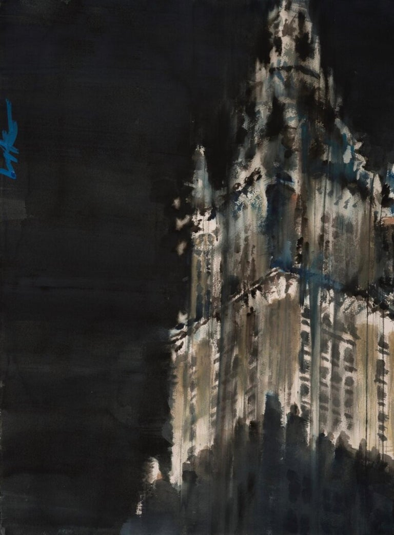 Paul CHING-BOR (b. 1963, China) The On Land Lighthouse IV (The Woolworth Building) Original watercolor on Arches 30 x 22.5 inches Hand signed Framed  A contemporary painter whose dynamic cityscapes represent a bold new exploration of the medium of
