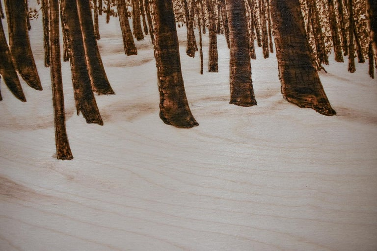 Hemlocks (Snowy Forest Landscape on Birch Wood Made with a Blowtorch) For Sale 2