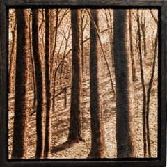 Late Afternoon Summer (Forest Landscape, Burned and Scorched Wood Drawing)
