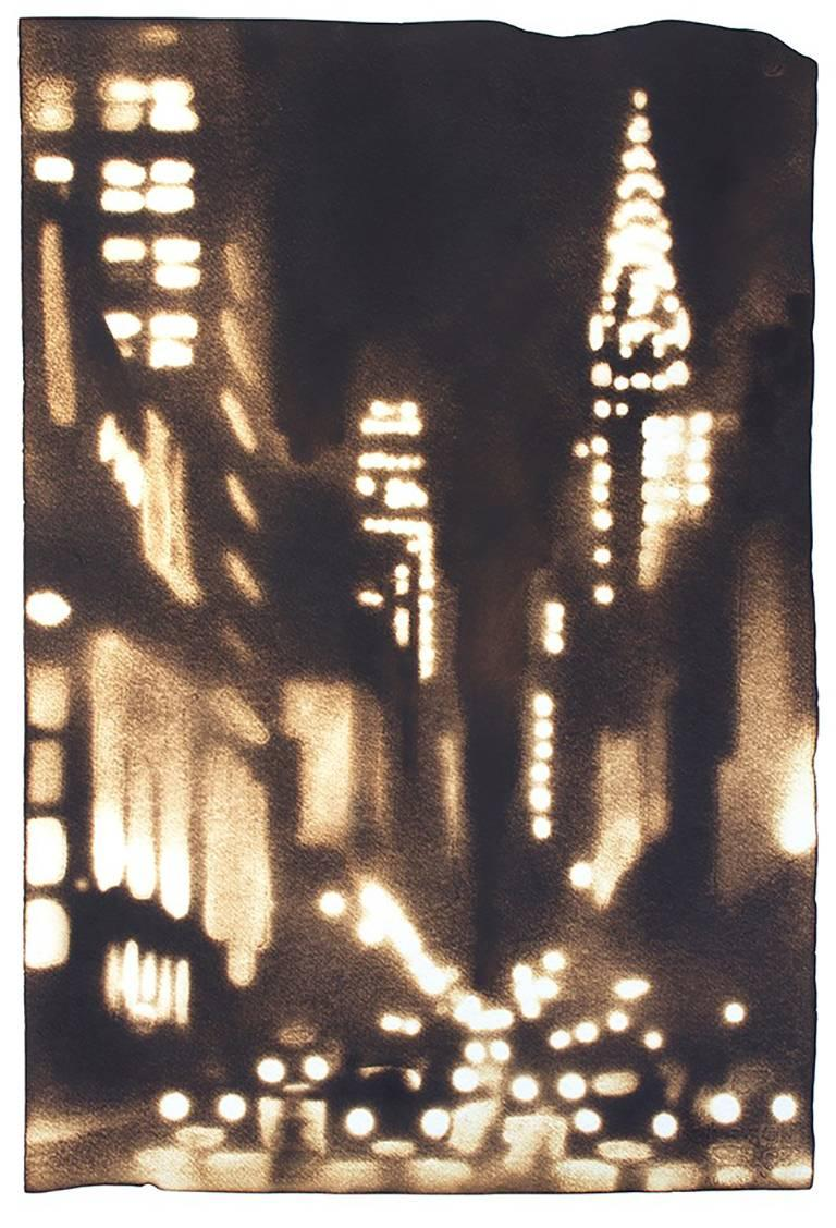 Paul Chojnowski Figurative Painting - Looking Up Lex (Manhattan Cityscape Drawing of Nighttime on Lexington Ave.)