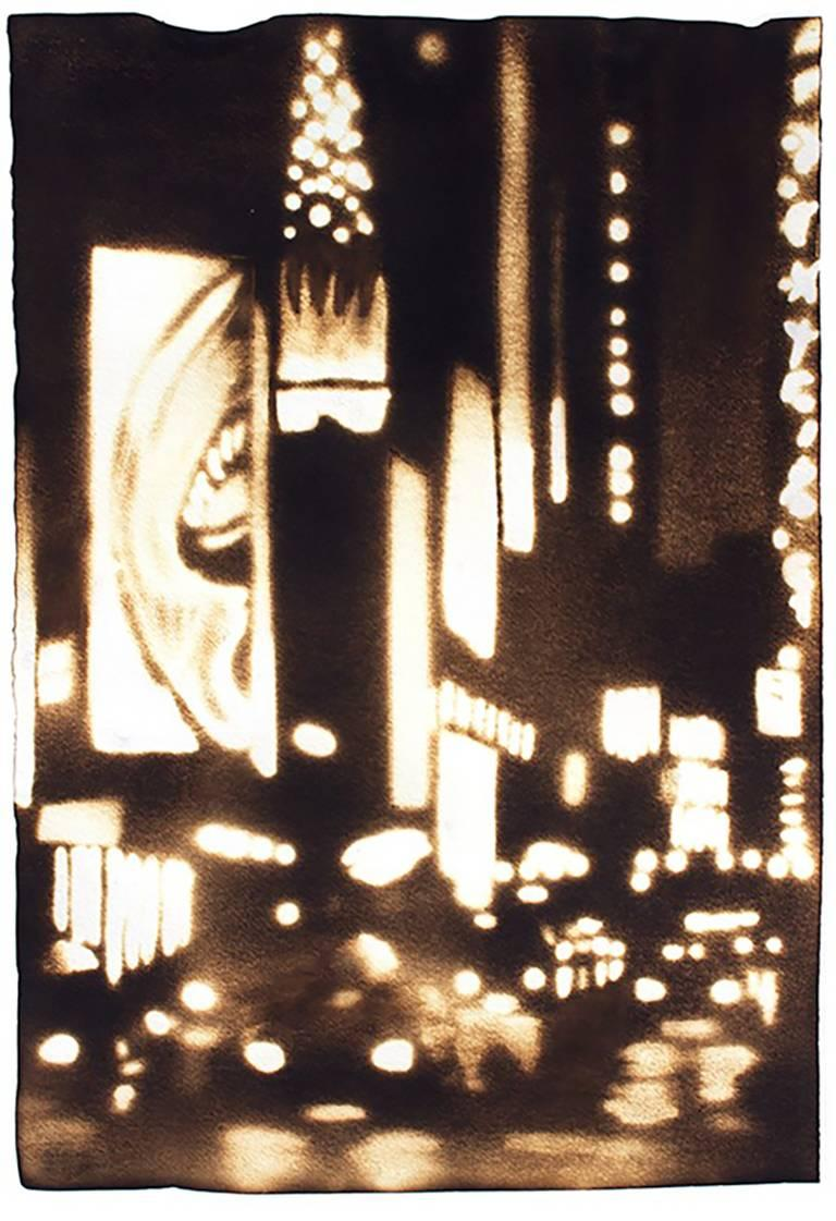 Paul Chojnowski Landscape Painting - Nightly Neon (New York City Times Square Skyline Drawing on Paper)