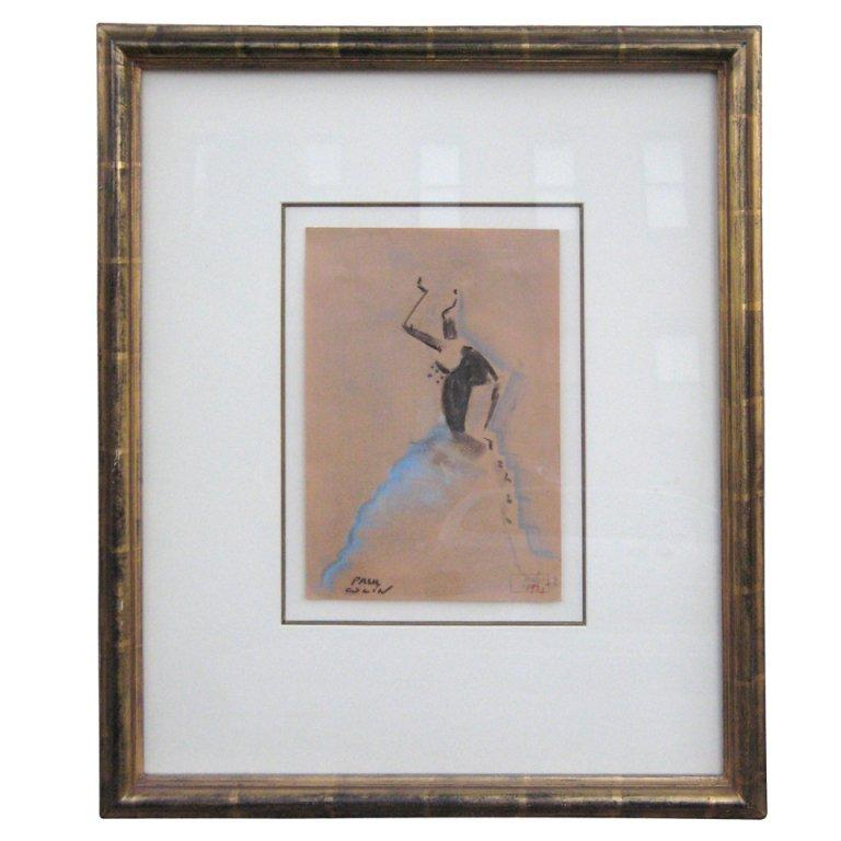 Paul Colin Art Deco Pastel Drawing For Sale