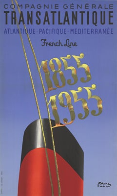 Transatlantique French Line 1855 - 1955 original French vintage poster