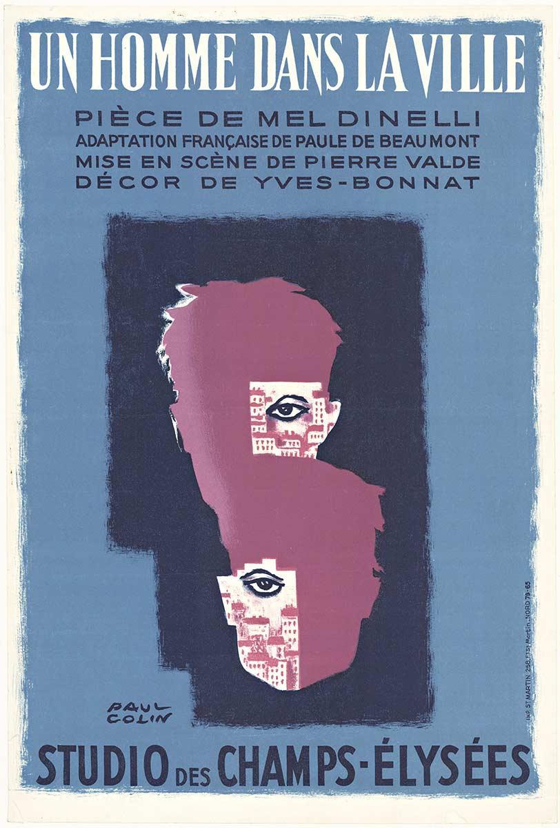 Un Homme Dans la Ville original vintage French antique poster