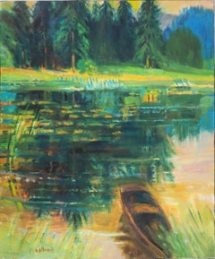Wild Nature : Small Boat on the Pond - Original Oil Painting, Handsigned