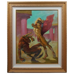 """Paul Cooreman """"Theseus Slaying Minotaur"""" Signed Oil Painting on Canvas Nude"""